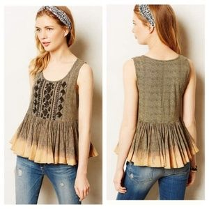 Anthro Beaded Sequin Peplum Bohemian Tank Top